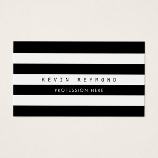 black & white stripes,  professional striped business card