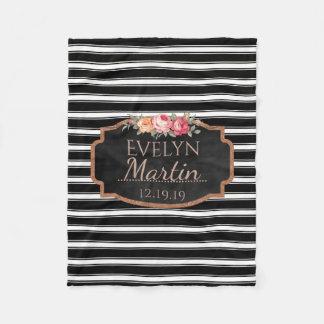 Black White Stripes Rose Gold | Monogrammed Floral Fleece Blanket