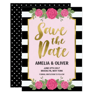 Black White Stripes Roses Wedding Save the Date Card