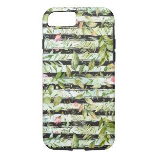 Black White Stripes Watercolor Floral Case-Mate iPhone Case