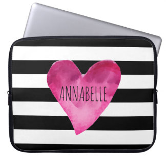 Black + White Stripes Watercolor Heart Monogram Laptop Sleeve