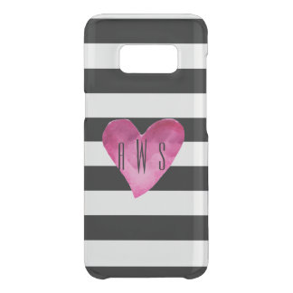 Black + White Stripes Watercolor Heart Monogram Uncommon Samsung Galaxy S8 Case