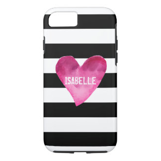 Black + White Stripes Watercolor Heart your name iPhone 8/7 Case