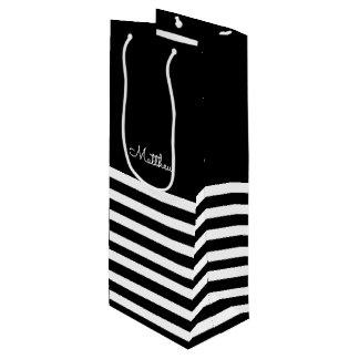 Black | White Stripes Wedding Favor Wine Bags
