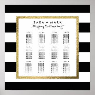 Black & White Stripes Wedding Seating Chart