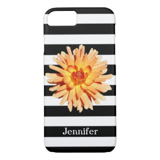 Black White Stripes with a Dahlia Photo Name iPhone 8/7 Case