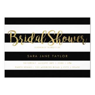 Black & White Stripes with Gold Foil Bridal Shower Card