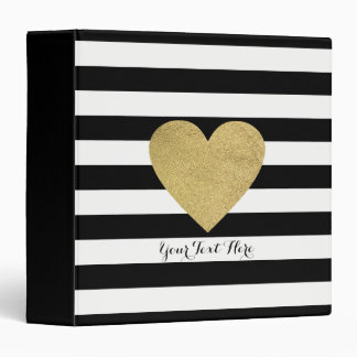 Black & White Stripes with Gold Foil Heart 3 Ring Binder