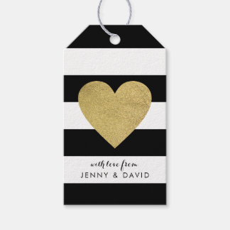Black & White Stripes with Gold Foil Heart Gift Tags