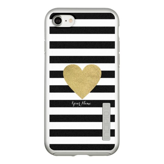 Black & White Stripes with Gold Foil Heart Incipio DualPro Shine iPhone 7 Case