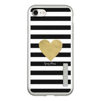 Black & White Stripes with Gold Foil Heart Incipio DualPro Shine iPhone 8/7 Case