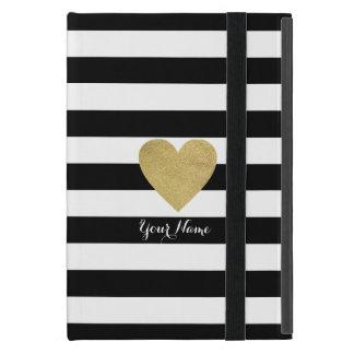 Black & White Stripes with Gold Foil Heart iPad Mini Cover