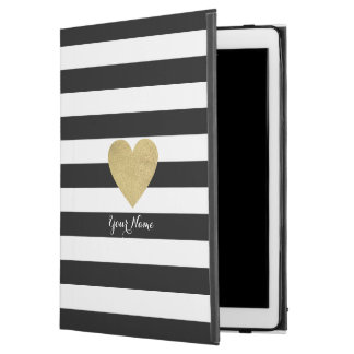 "Black & White Stripes with Gold Foil Heart iPad Pro 12.9"" Case"