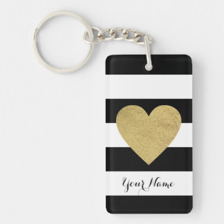 Black & White Stripes with Gold Foil Heart Keychain