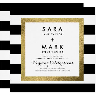 "Black & White Stripes with Gold Foil Wedding 5.25"" Square Invitation Card"