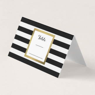 Black & White Stripes with Gold Foil Wedding Table Place Card