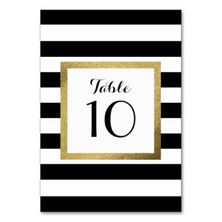 Black & White Stripes with Gold Foil Wedding Table Table Cards