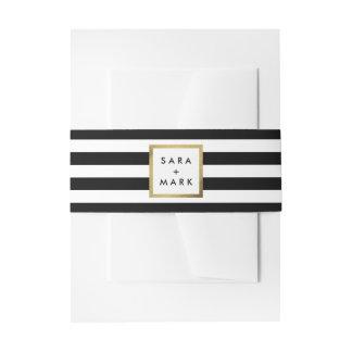 Black & White Stripes with Gold Frame Label Custom Invitation Belly Band