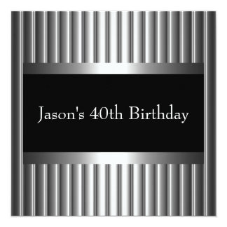 Black White Style Silver Mens 40th Card