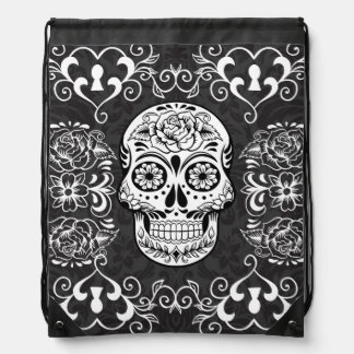 Black White Sugar Skull Skeleton Tattoo Art Bag