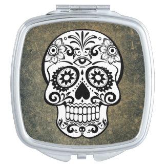 Black & White Sugar Skull Slate Mirrors For Makeup