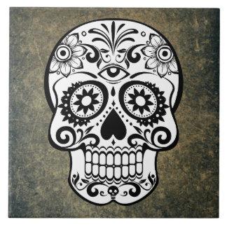 Black & White Sugar Skull Slate Tile