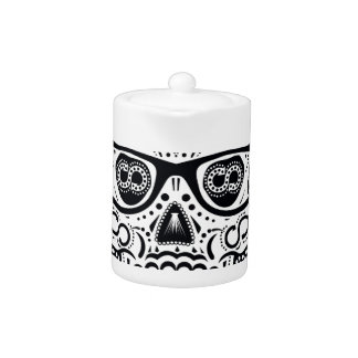 Black & White Sugar Skull W/ Glasses