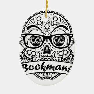 Black & White Sugar Skull W/ Glasses Ceramic Oval Ornament