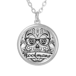 Black & White Sugar Skull W/ Glasses Silver Plated Necklace