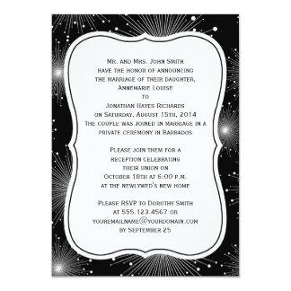 Black White Sunbursts Fireworks Reception Only Card