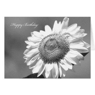 Black & White Sunflower Card for Her Birthday