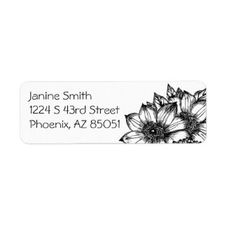 Black & White Sunflowers Return Address Label