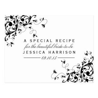 Black & White Swirls Bridal Shower Recipe Cards Postcard