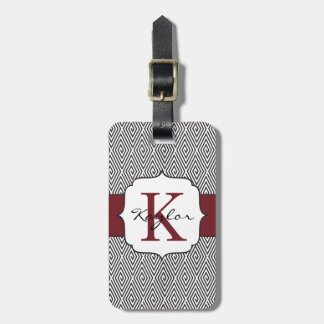 Black & White Swirls Marsala Monogram Luggage Tag