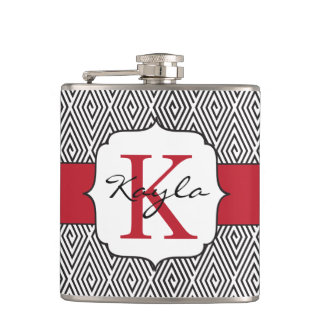 Black & White Swirls Red Monogram Hip Flask