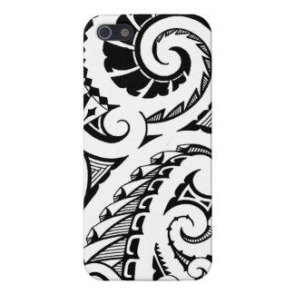 black & white tattoo design in Maori style art iPhone 5 Cases