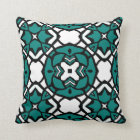 Black White Teal Green Oriental Mosaic Pattern Throw Pillow