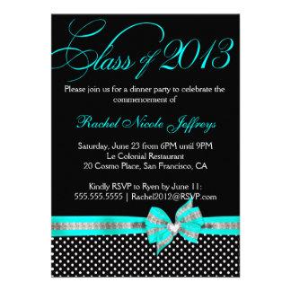 Black White Teal Polka Dot Graduation Invitation