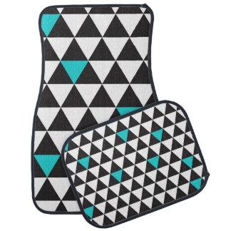 Black White Teal Turquoise Geometric Triangles Car Mat