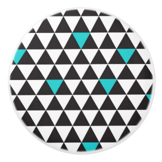 Black White Teal Turquoise Geometric Triangles Ceramic Knob
