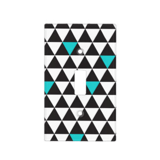 Black White Teal Turquoise Geometric Triangles Light Switch Cover