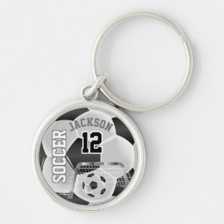 Black & White Team Soccer Ball Keychain