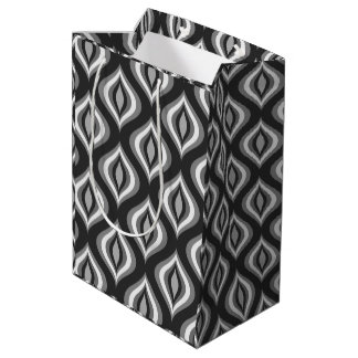 Black & White Teardrops Modern Geometric Pattern Medium Gift Bag