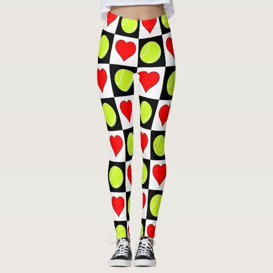 Black & White Tennis Ball & Heart Chequered Leggings