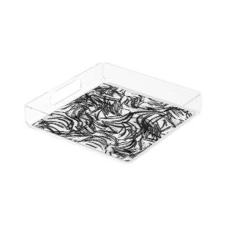 black & white textured perfume tray