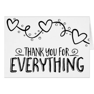 Black & White Thank You Hearts - Wedding Party Card