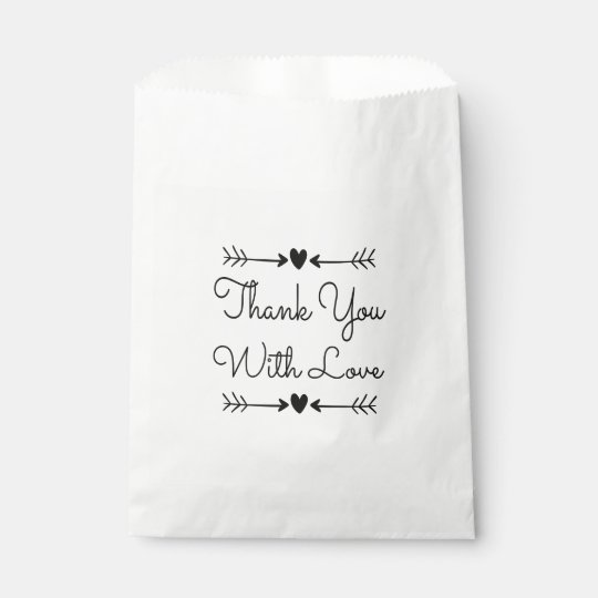 Black & White Thank You Love Hearts Wedding Party Favour Bag