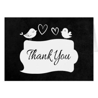 Black & White Thank You Lovebirds Chalkboard Card