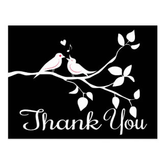 Black & White Thank You Lovebirds Wedding Party Postcard