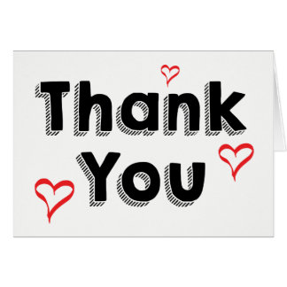 Black & White Thank You Red Hearts Card
